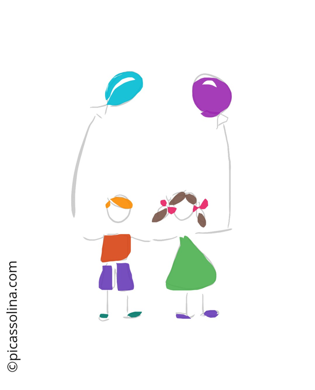 picassolina postcard illustration friends love party