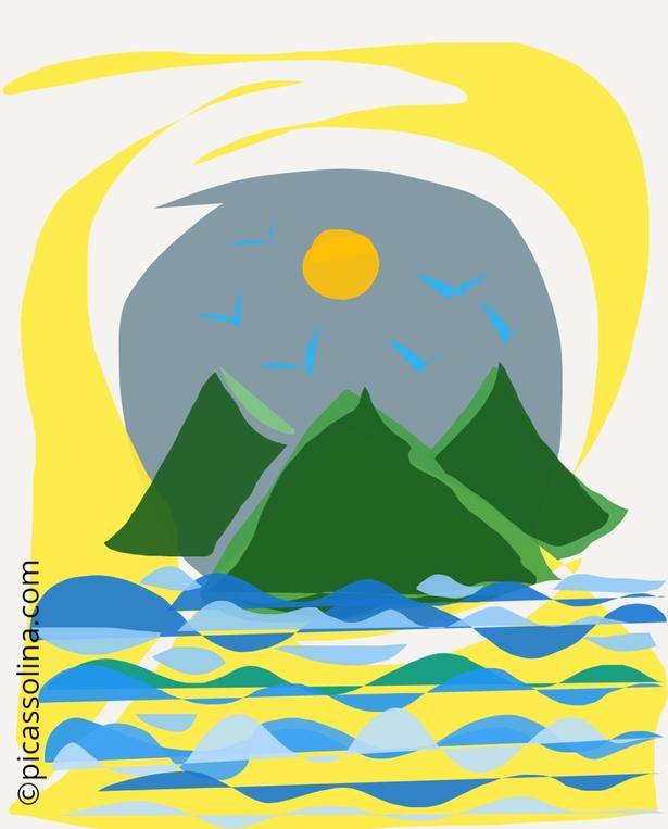 picassolina postcard illustration nature lake mountain sun