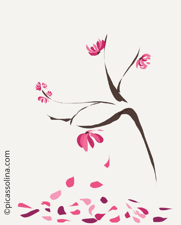 picassolina postcard illustration flowers tree japanise
