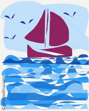 picassolina postcard illustration sea sailing birds