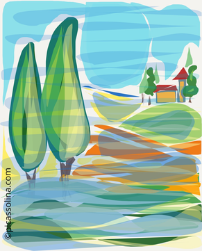picassolina postcard illustration tuscany