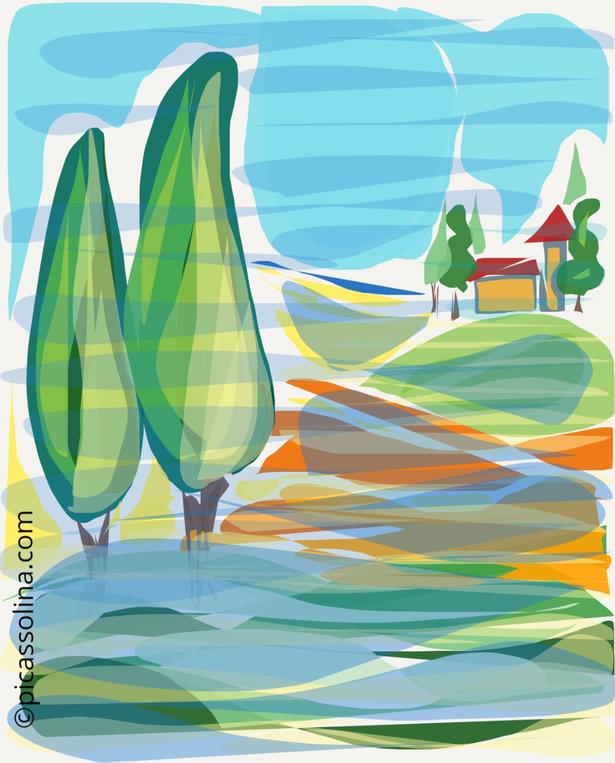 picassolina postcard illustration tuscany