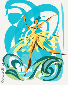 picassolina postcard illustration dancer happines