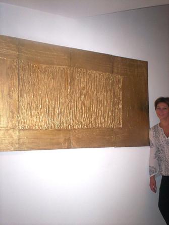the golden drapery, acrylic on wood, quadrinominal
