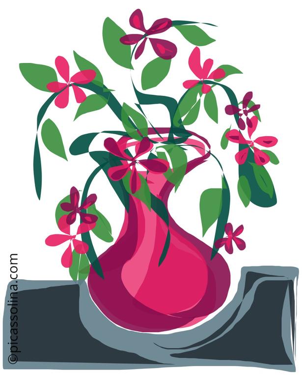 picassolina postcard illustration flowers