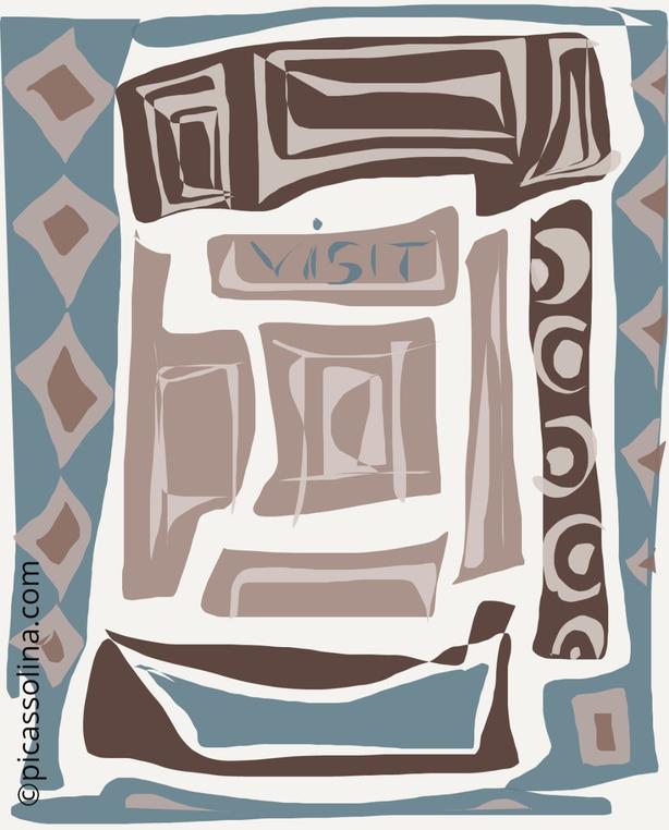 picassolina postcard illustration abstract tourist