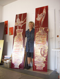 flowers relief paintings on the wood, by Emina Katarina Kronburger, Picassolina
