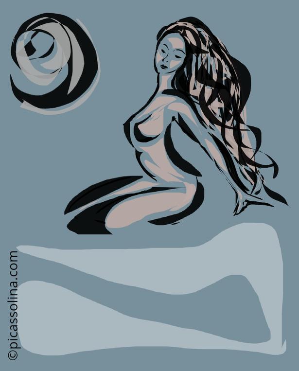 picassolina postcard illustration nude woman