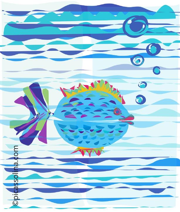 picassolina postcard illustration fish