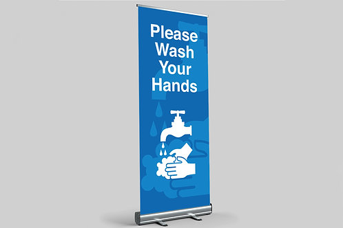 Blue health and safety banner with please wash your hands statement