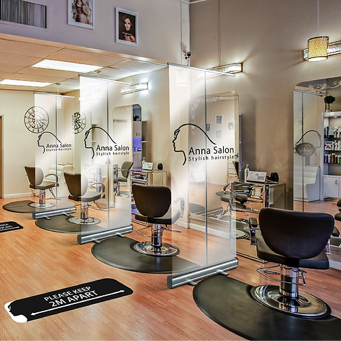 Clear protective screens being used in the salon