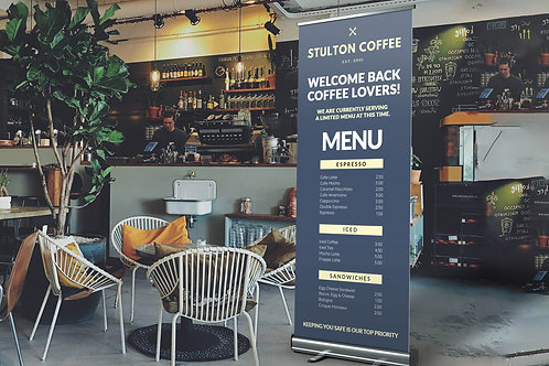 Roller Banner menu and prices in use in coffee shop