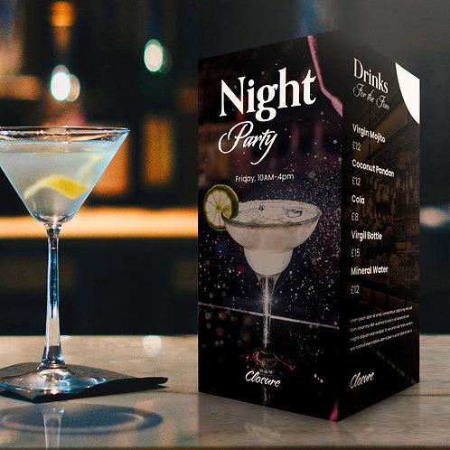 Antibacterial table card to promote cocktails on a bar top