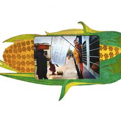 """Campagne de sensibilisation en Inde (Sur le drapeau : """"Votre travail difficile : 6500 Rs/mois ; RSA : 40 891 RS/mois ; Devenez artiste contemporain!"""")"""