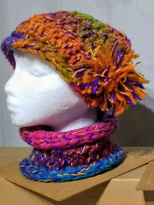 Knitted Beanie & Neck Warmer Combo