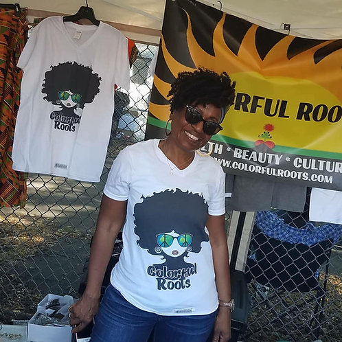Colorful Roots Visionary V Neck T Shirt Unisex