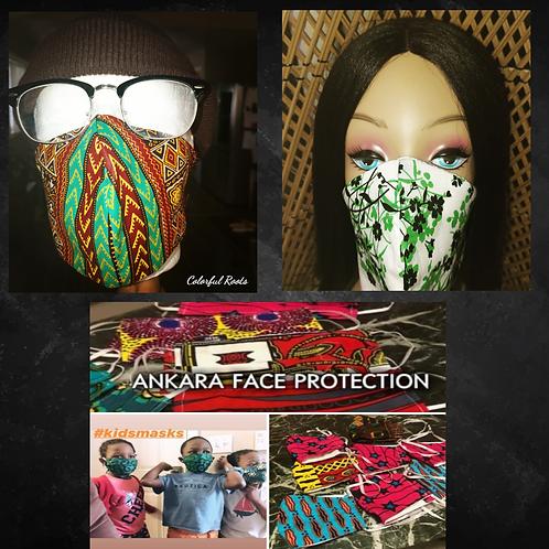 12 Ankara / Kente Face Protection Mask ReUsable