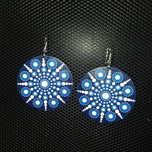 Blue Poppin Wood Earrings