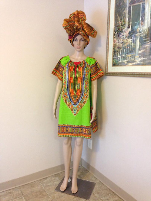 Quarantine and Cute African Dashiki Dress w/ Wrap