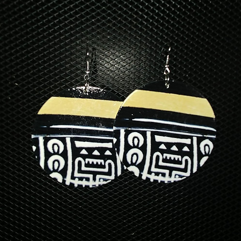 Mud Cloth Wood Earrings
