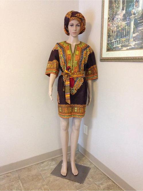 Black Tunic African Dashiki Dress w/ Wrap