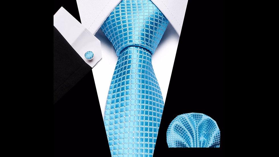 Grid- 3pc  Tie Silk Set