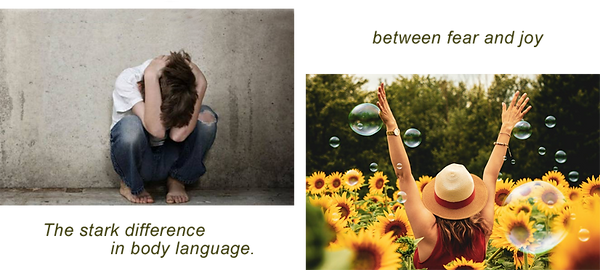 a person cowering down in fear and a woman being joyful in a sunflower field emotional trauma hypnosis