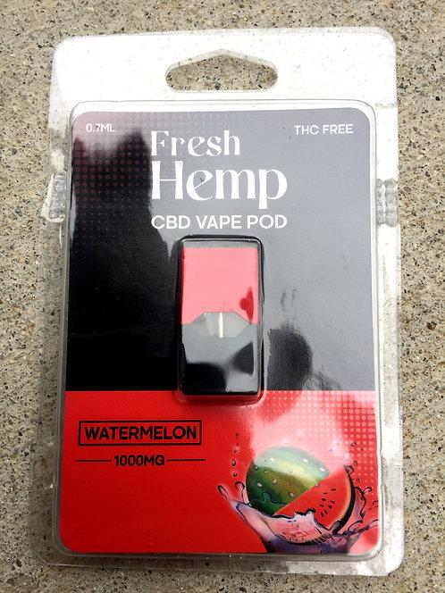 Fresh Hemp CBD Vape Pod 1000 MG 3 flavors-10 Pods $12 per Pod