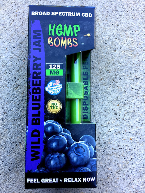 Hemp Bombs Disposable CBD Vape Pen 125 mg 3 Flavors 12 pens $12.25 per pen