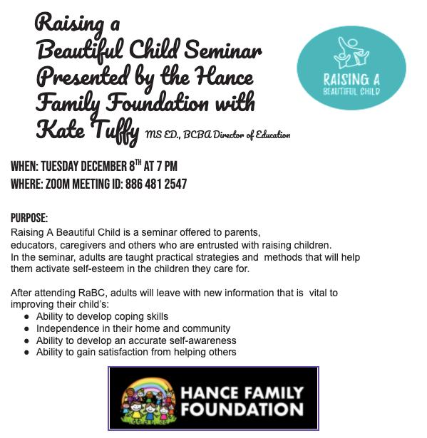 Raising a Beautiful Child Seminar 12/8 7om