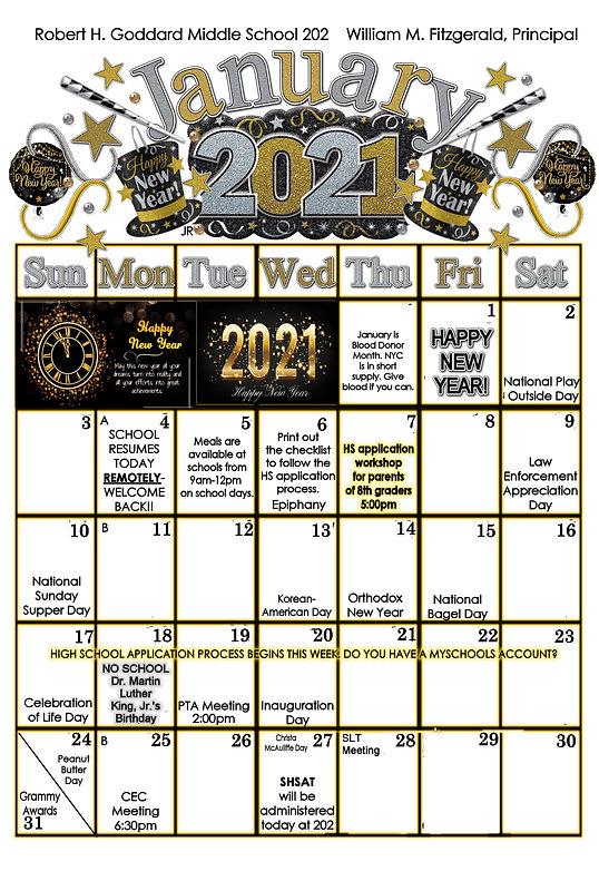January 2021 Calendar Happy New Year!