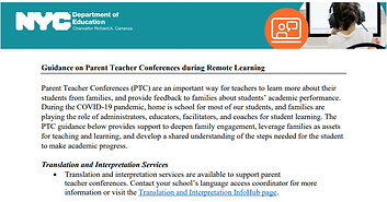 Letter on Guidance for Parent/Teacher Conferences