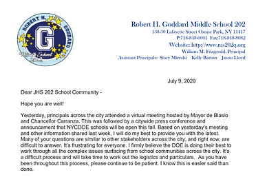 July 9th letter to School Community