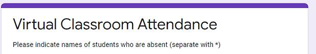 Virtual Classroom Attendance Form Link