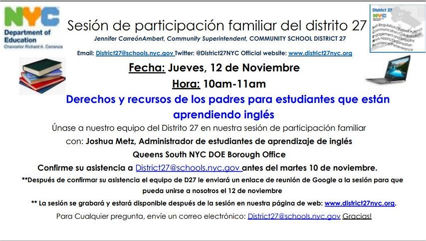 ELL FAMILY HOUR 11-12 10AM spanish