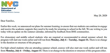 May 20th Letter from the NY Department of Education