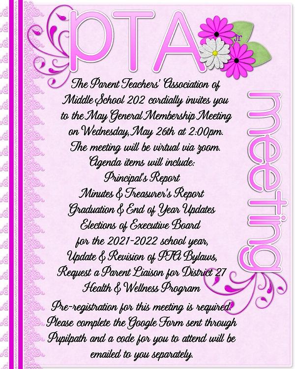 PTA May General Membership Meeting information