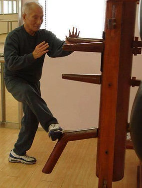 Ip Chun on the Wooden Dummy
