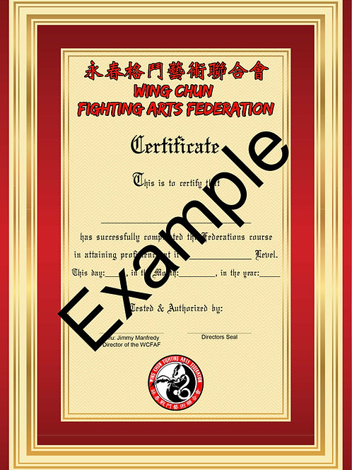 "Wing Chun Fighting Arts Federation ""Orange Sash"" Testing fee."
