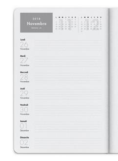 Vous pouvez choisir une organisation hebdomadaire, sur la page de gauche vous aurez le planning de la semaine