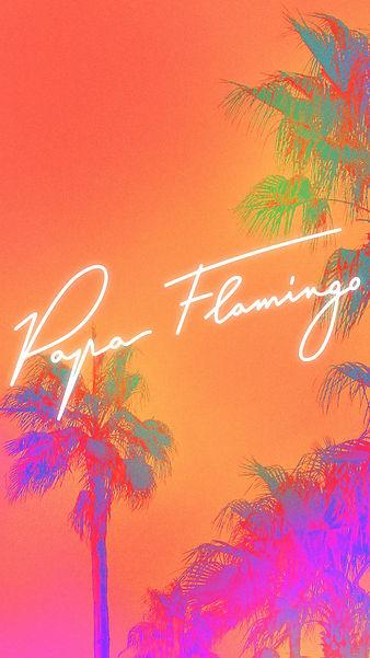Wallpaper Papa Flamingo yellow palmiers.jpg