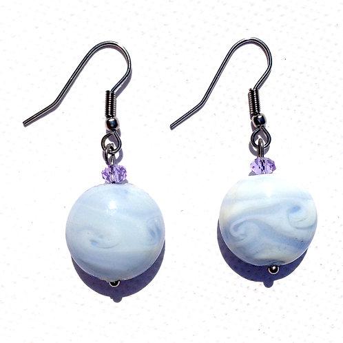 Boucles d'oreilles palet bleu et cristal lilas
