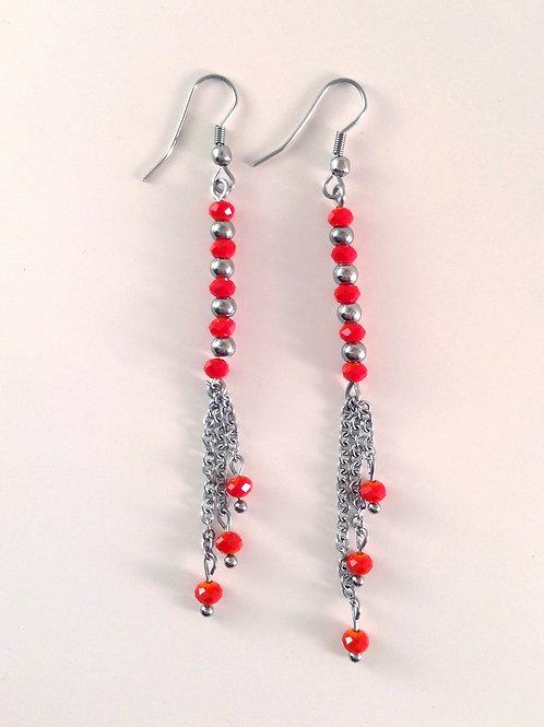 Boucles d'oreilles cristal rouge et acier inoxydable