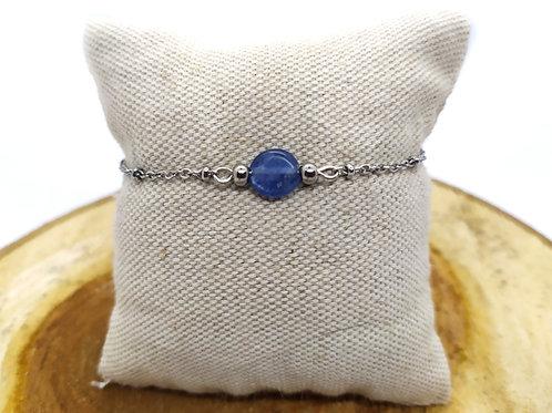 Bracelet acier inoxydable et cyanite bleue