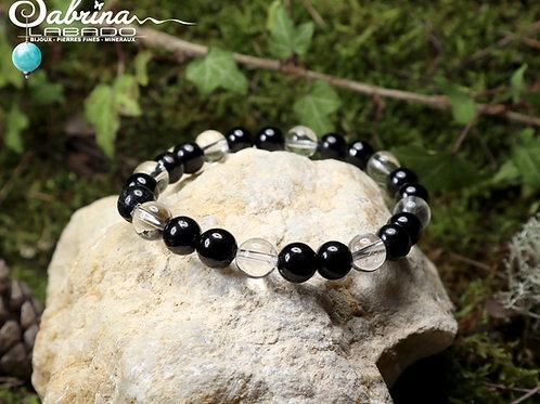 Bracelet tourmaline noire et cristal de roche