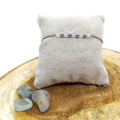 Bracelet acier inoxydable et topaze bleue