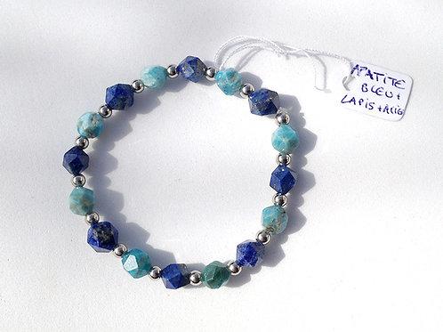 Bracelet apatite bleu, lapis lazuli facetté et acier inoxydable