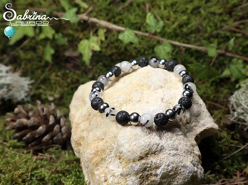 Bracelet Quartz tourmaline, pierre de lave et acier