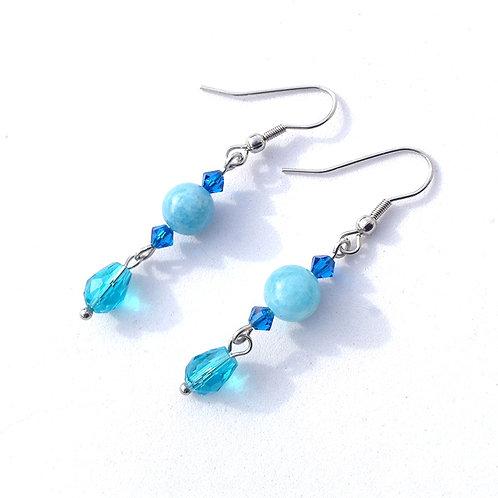 Boucles d'oreilles en quartz bleu, cristal et acier inoxydable