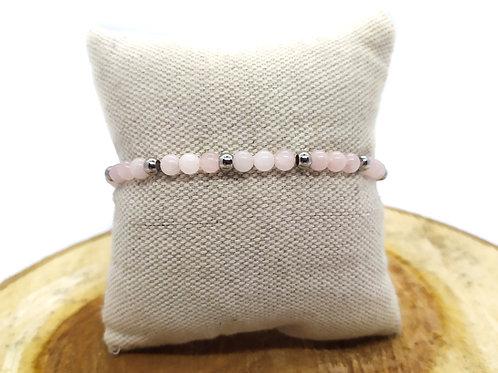 Bracelet quartz rose et acier inoxydable